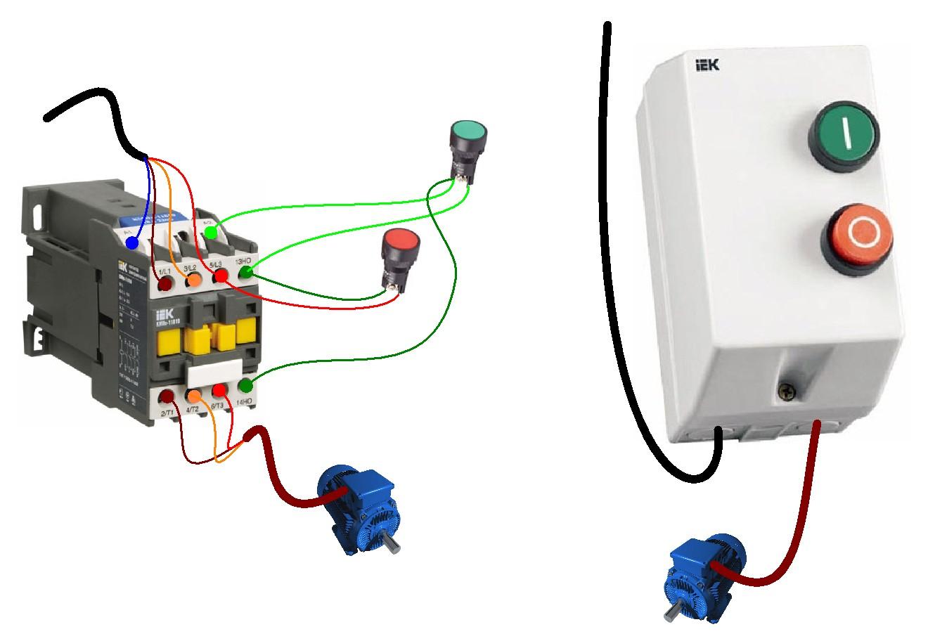 Схема подключения магнитного пускателя и теплового Подключение контактора схема 380 с тепловым реле