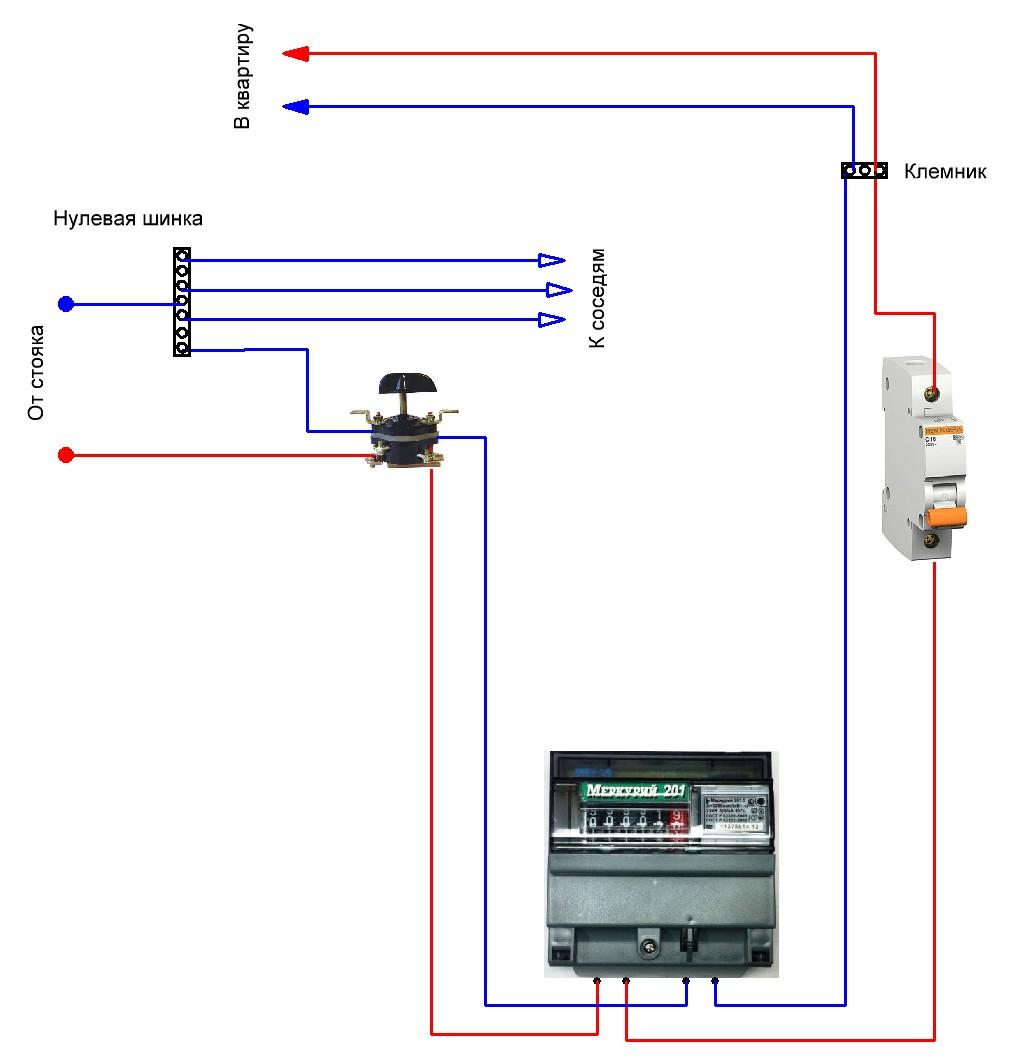 Схема однофазного счетчика фото